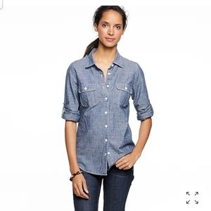 J crew two pockets chambray blouse